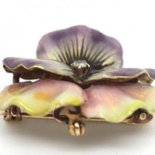 Purple and yellow enamel diamond flower brooch