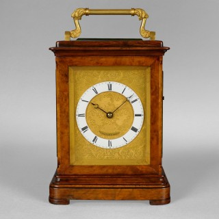 A nineteenth century English carriage clock in a walnut five glass case by Payne & Co, New Bond Street, London circa 1865