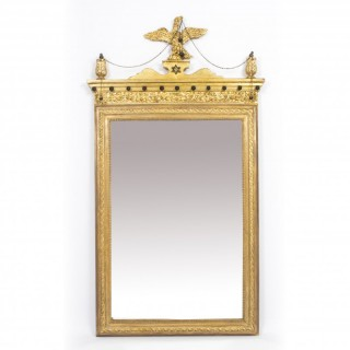 Antique George II Style Parcel Gilt Wall Mirror Circa 1860 143x73cm