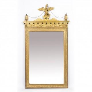 Antique George II Style Parcel Gilt Wall Mirror Circa 1860 143x73cm