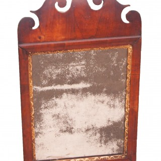 Antique Small 18th Century Walnut & Gilt Mirror