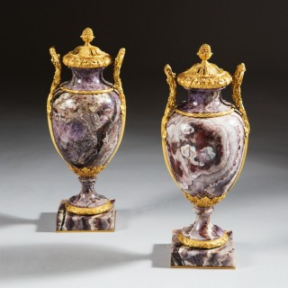 PAIR OF SIBERIAN AMETHYST URNS