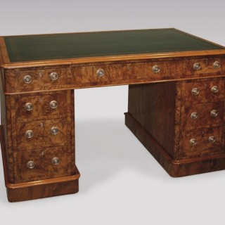 A mid 19th Century walnut and burr walnut  Pedestal Desk.
