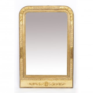 Antique French Louis Philippe Giltwood Overmantel Mirror c.1840 - 118x78cm