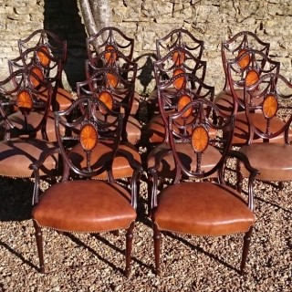 Large Set Of Fourteeen Mahogany Edwardian Period Antique Mahogany Dining Chairs