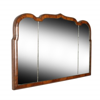 Queen Ann Style Walnut Overmantel Mirror