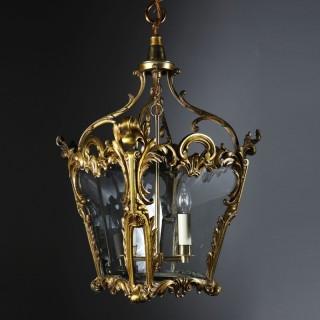A rococo revival brass lantern