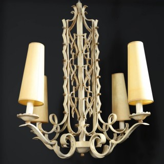 A French modernist white painted Iron chandelier