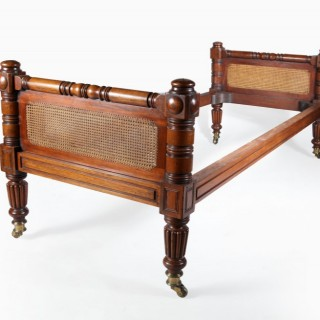 A Gillows style mahogany single bed