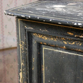 A Very Decorative Black Painted Pot Cupboard c.1900