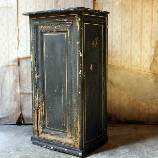 A Very Decorative Black Painted Pot Cupboard c.1900