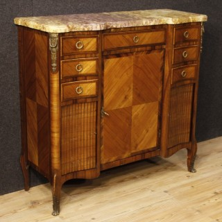 French Sideboard In Mahogany, Rosewood, Fruitwood and Maple With Marble Top and Bronzes 20th Century