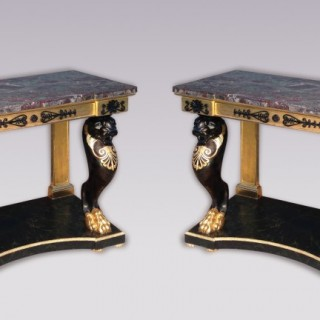 Pair of Regency period gilt & ebonised Console Tables.