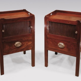 Pair of George III period mahogany tray top Bedside Cabinets.