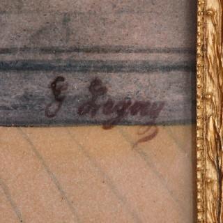 19th Century French Limoges enamel plaque in gilt bronze frame