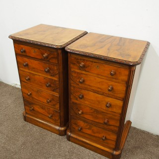 Pair of  Victorian Burr Walnut Bedsides