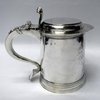Antique William III Silver Lidded Tankard
