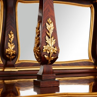 Large French parquetry, ormolu and Vernis Martin display cabinet