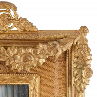 19th Century French Limoges enamel plaque in gilt bronze frame