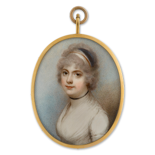 Portrait miniature of Miss Schneider, wearing white dress, black ribbon choker and white, red and black bandeau in her powdered hair