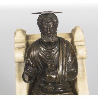 Antique Italian Bronze and Marble Sculpture of St Peter 19th Century