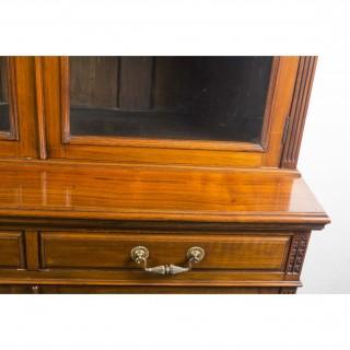 Antique Edwardian Figured Walnut Bookcase 19th Century