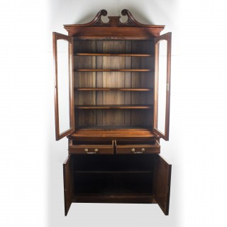 Antique Edwardian Figured Walnut Bookcase 19th Century