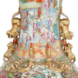 Large pair of Chinese Qing Dynasty porcelain vases