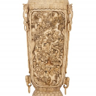 Late Qing Dynasty bone and ivory relief vase