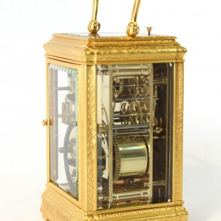Engraved Repeating alarm Carriage Clock by Soldano