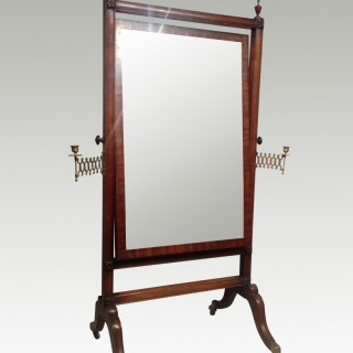 Regency mahogany cheval mirror.