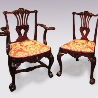 6 & 2 Victorian Chippendale style mahogany Dining Chairs.
