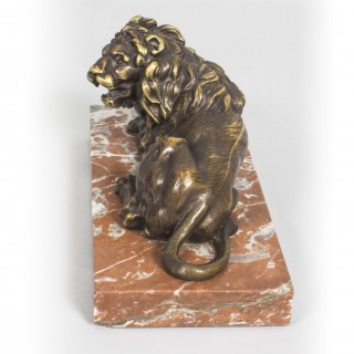 Antique Pair Grand Tour Bronze Lions on Marble Bases 19th C