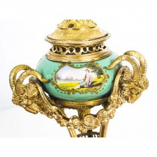 Antique Miniature Adam Style Ormolu & Porcelain Urn & Cover 19th C