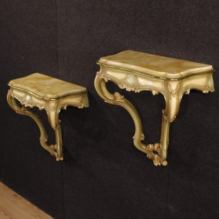 Pair Of Venetian Console Tables In Lacquered And Gilt Wood With Marble Top 20th Century