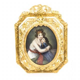 Antique French Gilt Bronze Portrait M. Le Brun c.1830