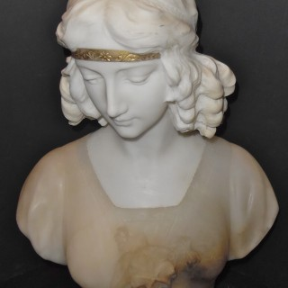 A French alabaster bust of a lady