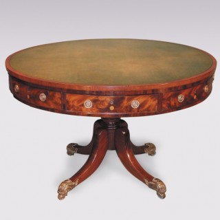 Antique early 19th Century Regency period mahogany Drum Table.