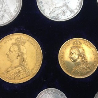 A cased set of 11 mint condition Jubilee coins, 1887.