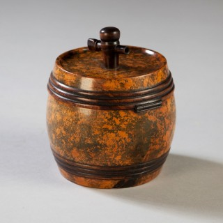 RARE TREEN TURNED AND PATINATED BARREL TEA CADDY