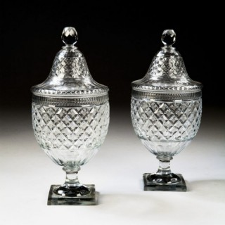 18 INCH PAIR OF VONECHE CUT GLASS BON-BONNIER – COVERED URNS