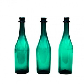 A GROUP OF THREE GREEN BOTTLES