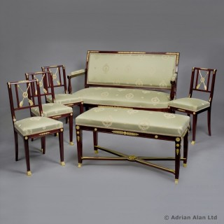 A Rare Gilt-Bronze Mounted Mahogany Empire Revival Salon Suite by François Linke