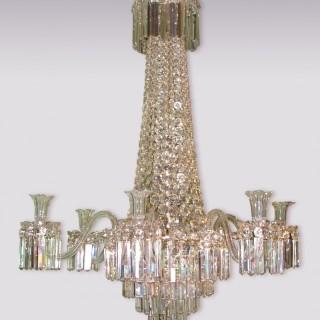 Fine English Mid-19th Century Cut Glass Chandelier.