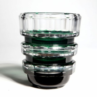 EMERALD GREEN OVER CLEAR GLASS VAL ST LAMBERT ART DECO VASE