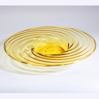 LARGE MURANO GLASS CHARGER – YELLOW ATTRIBUTED TO PAULY & C.