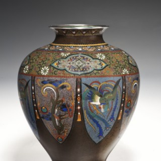 Japanese Meiji period cloisonne vase with silver wire work