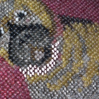 Footstool with Beadwork Embroidery Picture of a Pug