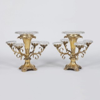 A Pair of Victorian Silver Gilt Plated Epergnes