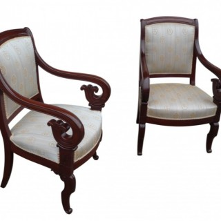A fine pair of French mahogany  arm chairs, circa 1860
